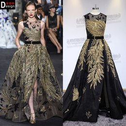 black gold dresses evening wear Australia - Zuhair Murad Black Evening Dresses With Gold Beads Real Pictures Custom Made Sweep Train Prom Dress Party Evening Wear Illusion Formal Dress