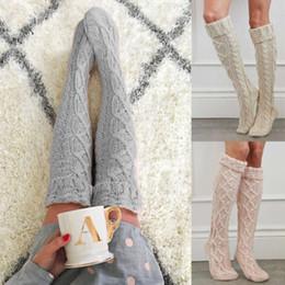 Venta al por mayor de Cable de invierno para mujer Punto sobre la rodilla Bota larga Medias altas en muslo