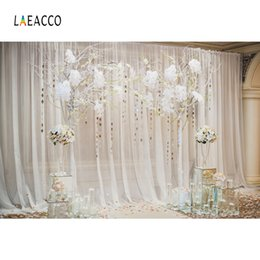 Discount photography backdrops interiors - Laeacco Tassel Floral Tree Curtain Ceremony Interior Photography Backgrounds Customized Photographic Backdrops For Photo