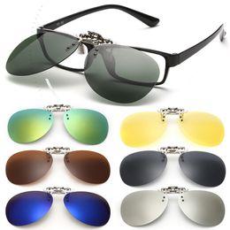 860e2dd3608 new Clip On Sunglasses Goggles Polarized Sun Glasses Driving Night Vision  Lenses Flip Up Eyeglasses UV Eyewear Mens Womens