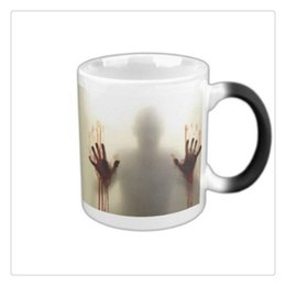color change mugs white Canada - The Walking Dead Zombies Ceramics Heat Sensitive Color Changing Coffee Tea Mug Cold Black Hot White Hot Sale