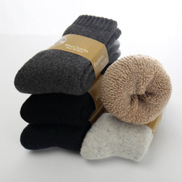 champagne towels 2019 - New Winter Thicken Wool Socks Men's Warm Rabbit Cashmere Socks for Men Solid Color Casual Towel 5 pairs lot cheap c