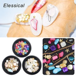 $enCountryForm.capitalKeyWord NZ - Natural Sea Shell Colorful Stones Golden Chains Rivet Nail Art Decorations Mix Pack 3d Manicure Sticker Diy Accessory New Design