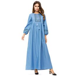 7640166774 Denim dress Autumn winter 2018 Women Long Sleeve Geometric Embroidered  Muslim Islamic dubai abaya New dress Plus Size
