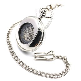 China Hollow Case Roman Black Dial Men Silver Pocket Watch Mechanical Hand Winding Antique Army Skeleton Steampunk Watch w Chain cheap mechanical chain suppliers