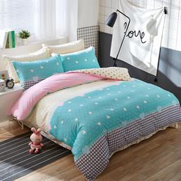 Discount pink orange bedding sets - Wholesale-Autumn and Winter Home Bedding Set Blue Love Bed Set Flat Sheet 3 4 Pcs Duvet Cover Bed Sheet Pillowcase Queen