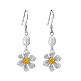 fresh pearls wholesale 2019 - 925 Silver Drop Lotus Flower Earrings Real Fresh Water Pearls Hanging Earrings For Women Party Wedding Gift Accessories