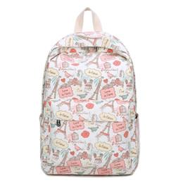 Flower Print Backpacks NZ - Eiffel Tower Backpacks Cartoon Flower Printing School Backpack Canvas Schoolbags for Teenage Girls Students Bag Cat printing NEW