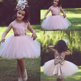 Gowns For Flower Girls NZ - JaneVini 2018 Pink Short Ball Gown Flower Girl Dresses For Country Garden Weddings Said Mhamad Tulle Knee Length Bow Girls Pageant Dresses