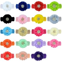 chiffon flower headband rhinestone Australia - Chiffon Flowers Headband With Rhinestone Center Artificial Flower Fabric Flowers Children Hair Accessories Baby Headbands Hairband
