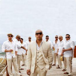 Linen suits groom beach wedding online shopping - Custom Made Linen Summer Beach Wedding Groom Tuxedo Slim Fit Men Suits Handsome Best Man Blazers Pieces Jacket Pants Vest Groomsmen Prom