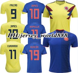 57aff2b2c2a TOP QUALITY 2018 World Cup Colombia home yellow soccer jersey 18 19 away blue  FALCAO JAMES CUADRADO TEO BACCA football shirt WOMAN