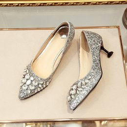 sexy low heel dress shoes NZ - 2018 Crystal Rhinestone Glitter Sparkles Pointed Toe Pumps Low Heel 5.5cm Stilettos Sexy Slip-on Dress Shoes