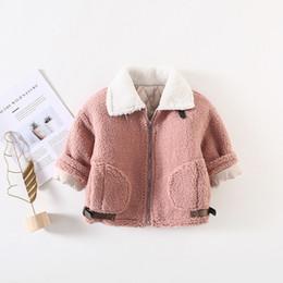 Korean Motorcycle Jacket Australia - Korean Baby Girls Coat White Collar Pink Motorcycle Clothing Big Pocket Winter Warm Infant Jacket Long Sleeve Thicken Outwear