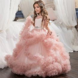 $enCountryForm.capitalKeyWord NZ - New Fashion Lovely Crystal Flower Girls Dresses for Weddings Floor Length Girls Pageant Dresses Baby Girl First Birthday Gown
