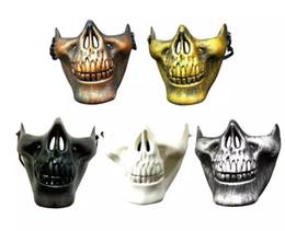 Discount skull warrior mask half face - CS Military Skeleton Mask Skeleton Paintball Lower Half Face Warrior 3 Generations Masquerade Mask Halloween Party Mask