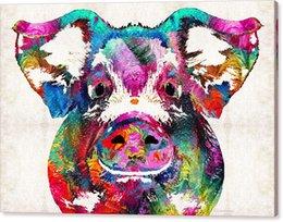 Großhandel YJ KUNST bunte schwein Moderne Leinwand Wandkunst für Haus und Büro Dekoration Ölgemälde Drucken Tier auf Leinwand 60x90 cm