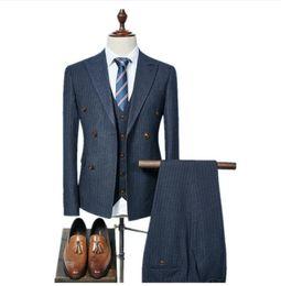 Satin Pant Suit NZ - (Jacket+Vest+Pants) 2018 double breasted Men Suits Fashion wool blazer Men's Slim Fit business wedding Suit men Wedding suit mens suits