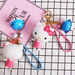 $enCountryForm.capitalKeyWord Australia - baby toys Angel hello KT cat bell keychain creative key chain car key ring couple bag pendant action & toy figures doll