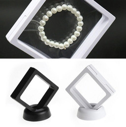 $enCountryForm.capitalKeyWord Australia - 7*7cm Floating Suspended Display Case PET Membrane Acrylic Coins Gems Jewellery Stand Holder Box EEA412 120PCS