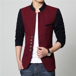 hot male blazers 2019 - Men casual slim fit patchwork brand blazer suit jacket red coat Male clothing blaser masculine hot sale wholesale cheap