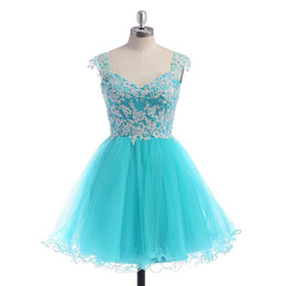 $enCountryForm.capitalKeyWord UK - Cheap High Quality Short Prom Dresses Sweetheart Sheer Strapes Beads Sequins Lace Appliques Turquoise Tulle Homecoming Party Gowns