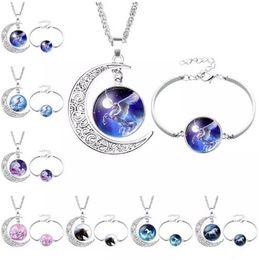 purple moon necklace 2019 - Unicorn Glass Cabochon Necklace Bracelet Jewelry Sets Silver Moon Time Gemstone Cabochon Jewelry Women Children Gift dis