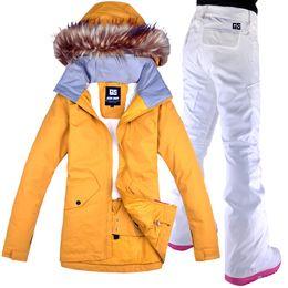 Snowboard Wear Suit Australia - 2018 GSOU SNOW Women Ski Jacket Pant Snowboard Clothing Trouser Windproof Waterproof Outdoor Sport Wear Female Winter Suit Set