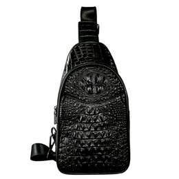 Patchwork Men Genuine Leather Chest Bag Back Pack Mens Messenger Bags Vintage Unbalance Male Shoulder Sling Bag Li-1587 Engagement & Wedding