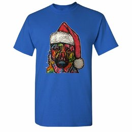 Tall Tee Men NZ - Style Vintage Tees Funny Crew Neck Short Santa Hat Colored Dog Men's T-Shirt Christmas 2017 Holidays Tee Tall T Shirt For Men
