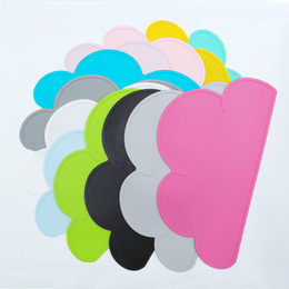 Discount pad waterproof - Waterproof Food Grade Silicone Placemat Baby Kids Cloud Shaped Plate Table Mat Set Home Kitchen Pads