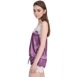 $enCountryForm.capitalKeyWord Australia - Sleepwear Sexy Satin Pajama Set White New Hot Women's Lace V-Neck Pajamas Sleeveless Cute Top and Shorts PJ