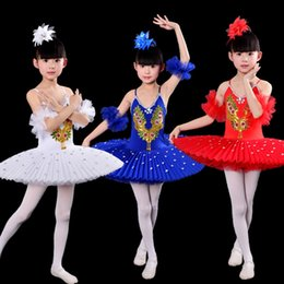 Red White Blue Tutus NZ - Professional White Swan Lake Ballet Tutu Costume Girls Children Ballerina Dress Kids Ballet Dress Dancewear Dance Dress For Girls Blue Red