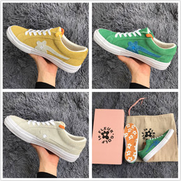 f090d612934 2018 The Creator One Star x Golf Le Fleur TTC Mens Women Yellow Green  Skateboard Fashion Sneakers Designer Canvas shoes(2 Laces