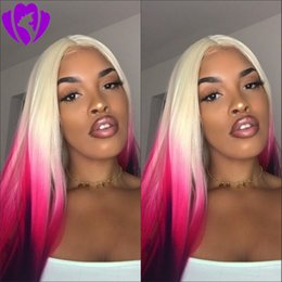 Long dark brown cospLay wig online shopping - Long straight Blonde Ombre Pink Wigs Synthetic purple Lace Front Wig for women Heat Resistant Hair Cosplay Party Hairstyle