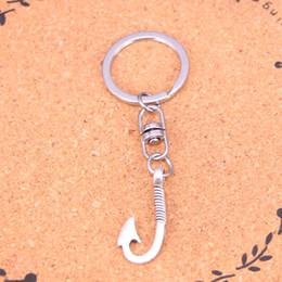 $enCountryForm.capitalKeyWord NZ - New Fashion Keychain 30*13mm fishhook hooks Pendants DIY Men Jewelry Car Key Chain Ring Holder Souvenir For Gift