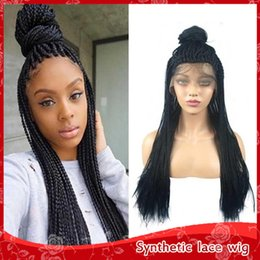 Discount 27 braiding hair - Hot Sexy 1b 27 613# Box Braids Wigs with Baby Hair Heat Resistant Braiding Synthetic Lace Front Wig Fiber Barided Wigs f
