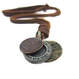 $enCountryForm.capitalKeyWord UK - Trendy Punk Style Handmade Long PU Leather Vintage Cents Coins Pendant Necklace For Women Men Jewelry Accessory