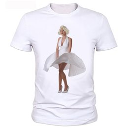 marilyn monroe sexy painting 2019 - Sexy Marilyn Monroe Printed Tshirt For Women Short Sleeve Casual Painted White Shirt Top Tee Big Size tops Fashion Style