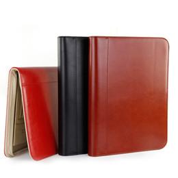 Multifonction haute qualité PU en cuir zippé dossier A4 dossiers pour documents pour bureau organisateur gestionnaire sac padfolio 1201D en Solde
