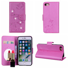 Lg diamond waLLet online shopping - Bling Diamond Mirror Leather Wallet For Iphone XR XS MAX X SE Ipod Touch Galaxy Note S9 S8 Butterfly Flower Case Cover Card