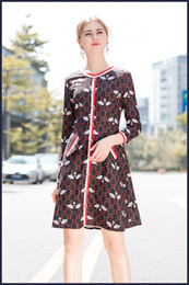 $enCountryForm.capitalKeyWord Canada - Free shipping 2018 Black O Neck Long Sleeve Panelled bees Print Milan Runway Dress Brand same style Dress 16-8