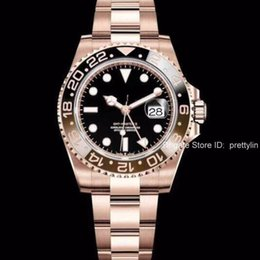 Black gold winner watch online shopping - New Gent s GMT II Automatic Stainless Steel Dive Luxury Rose gold Blue Red Ceramic Circle Master mm Watch AAA reloj Mens Watches