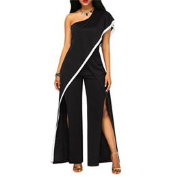 Wholesale casual evening outfits resale online – Women Summer Wide Leg Jumpsuit One Shoulder Loose High Split Long Pants Rompers Ladies Black Elegant Evening Jumpsuits Outfits