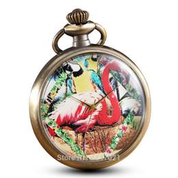 Discount flamingo paintings - Painting Painted Flamingo Pocket Watch Chains Vintage Quartz Personalised Pocket Watches Men Women Clock Gifts Reloj De