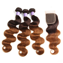 $enCountryForm.capitalKeyWord NZ - Body Wave Ombre Colored Bundles With Closure Brazilian Ombre Human Hair Weave 3 Bundles With 4*4 Lace Clsoure Extension Best Selling Items