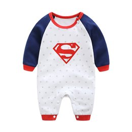 Wholesale 2018 New Fashion Cartoon Cotton Kids Boy Clothes Jumpsuit Batman Baby Boy Romper Superman Baby Gilr Romper Baby Costume Clothing