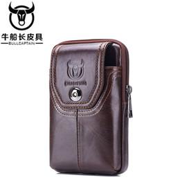 Vertical Phone Pouch Australia - BULLCAPTAIN Waist Bag Leather Phone Cigarette Purse Fanny Pack Hip Bum Money Belt Bag Waist Packs Men Belt Pouch Bags Vertical