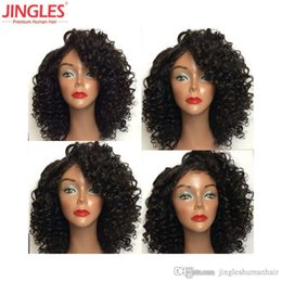 Afro kinky lAce wigs online shopping - 9A Brazilian Human hair lace front wigs cuticle aligned Virgin Remy Human Hair wigs x4 Lace front Wigs afro Kinky Curly wholesales cheap