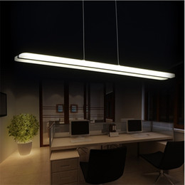 long pendant lights Canada - Modern Minimalist Long Strip of Acrylic Pendant Lamp Creative Personality Front Office Hanging Light Nordic Study Room Dining Lighting
